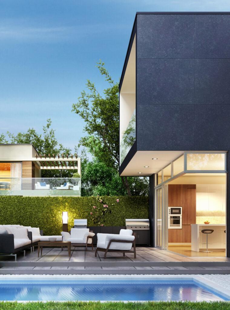 Modernes schwarzes Haus mit Pool